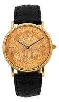 Timepieces:Wristwatch, Corum $20 Gold Liberty Coin Wristwatch. ...