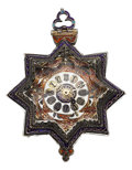 Timepieces:Pocket (pre 1900) , Viennese Rock Crystal, Enamel & Silver Star Form Verge Fusee, circa 1820's. ...