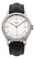 Timepieces:Wristwatch, Habring2 Jumping Second Wristwatch With Crown Press Hack-Second Mechanism. ...