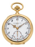 Timepieces:Pocket (post 1900), Patek Philippe & Cie Very Fine Gold Pocket Watch WithChronograph, circa 1909. ...