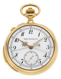 Timepieces:Pocket (post 1900), Patek Philippe Very Fine & Rare Gold & Enamel Minute Repeater With Split-Seconds Chronograph, circa 1909. ...