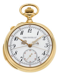 Patek Philippe Very Fine & Rare Gold & Enamel Minute Repeater With Split-Seconds Chronograph, circa 1909