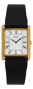 Timepieces:Wristwatch, Piaget 18k Yellow Gold Rectangular Wristwatch Ref. 9294. ...