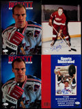Hockey Collectibles:Publications, Red Kelly and Mark Messier Signed Photographs, Magazines Lot of4....