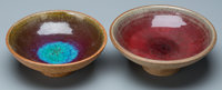 Harding Black (American, 1912-2004) Two Footed Bowls, 1953 Stoneware with flambé glaze 2-3/4 inch