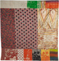 Post-War & Contemporary:Contemporary, Robert Rauschenberg (1925-2008). Samarkand Stitches I, 1988.Unique fabric assemblage with screenprinting on Ikat silk a...