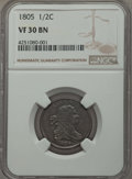 1805 1/2 C No Stems VF30 NGC. NGC Census: (0/0). PCGS Population (21/121). Mintage: 814,464. Numismedia Wsl. Price for p...