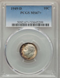 Roosevelt Dimes, 1949-D 10C MS67+ PCGS. PCGS Population (274/9 and 12/0+). NGC Census: (515/10 and 2/0+). Mintage: 26,034,000. Numismedia Ws...