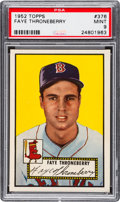 Baseball Cards:Singles (1950-1959), 1952 Topps Faye Throneberry #376 PSA Mint 9 - Pop Two, NoneHigher....