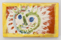 Pablo Picasso (1881-1973) Petit Soleil (in yellow and green), 1968 Terre de faïence plaque partially