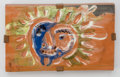 Prints, Pablo Picasso (1881-1973). Petit soleil (in green and blue), 1968. Partially glazed terracotta plaque. 3-3/4 x 6-1/4 inc...
