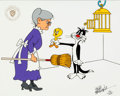 "Animation Art:Production Cel, ""Bad Puddy Tat"" Limited Edition Cel #182/200 (Warner Brothers,1987). ..."
