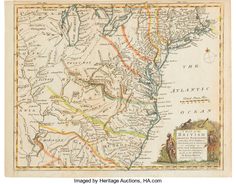 Colonial American Map.Colonial America 1754 Hand Colored Map Miscellaneous Maps Lot