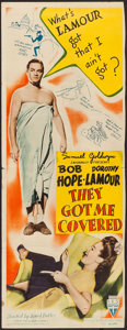 "Movie Posters:Comedy, They Got Me Covered (RKO, 1942). Trimmed Insert (13.75"" X 36"").Comedy.. ..."