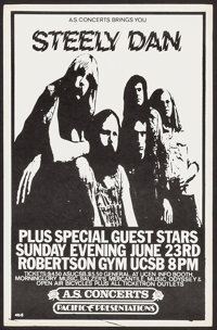 """Steely Dan at the Robertson Gym at UCSB (A.S. Concerts, 1974). Concert Poster (14.5"""" X 22.5""""). Rock and Roll..."""
