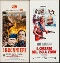 "Movie Posters:Adventure, The Buccaneer & Other Lot (PEA, R-1970). Italian Locandinas (2)(13"" X 27.5""). Adventure.. ... (Total: 2 Items)"