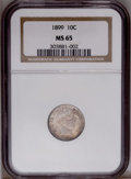 Barber Dimes: , 1899 10C MS65 NGC. NGC Census: (43/8). PCGS Population(22/15).Mintage: 19,580,846. Numismedia Wsl. Price: $525.(#4818)...