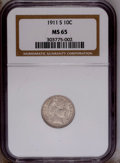 Barber Dimes: , 1911-S 10C MS65 NGC. NGC Census: (30/35). PCGS Population(41/44).Mintage: 3,520,000. Numismedia Wsl. Price: $675. (#4859)...