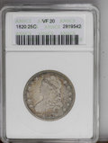 Bust Quarters: , 1820 25C Small 0 VF20 ANACS. NGC Census: (17/97). PCGS Population (5/53).Mintage: 127,444. Numismedia Wsl. Price: $275. (#5...