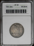 Bust Quarters: , 1831 25C Small Letters VF30 ANACS. NGC Census: (14/344). PCGS Population (6/310).Mintage: 398,000. Numismedia Wsl. Price: $...
