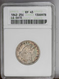 Seated Quarters: , 1842 25C XF45 ANACS. NGC Census: (1/28). PCGS Population(3/19).Mintage: 88,000. Numismedia Wsl. Price: $482. (#5401)...