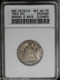 Seated Quarters: , 1853 25C Arrows and Rays--Cleaned--ANACS. UNC Details, Net AU55.NGC Census: (56/423). PCGS Population (75/354).Mintage: 15...