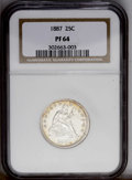 Proof Seated Quarters: , 1887 25C PR64 NGC. NGC Census: (64/82). PCGS Population(58/60).Mintage: 710. Numismedia Wsl. Price: $765. (#5588)...