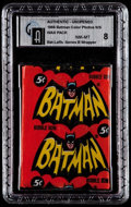 "Non-Sport Cards:Unopened Packs/Display Boxes, 1966 Topps Batman ""Bat Laffs"" In Series B Wrapper 5-Cent Wax PackGAI NM-MT 8. ..."
