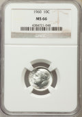 Roosevelt Dimes, 1960 10C MS66 NGC. NGC Census: (568/276). PCGS Population (663/52). Mintage: 70,300,000. Numismedia Wsl. Price for problem ...