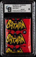 Non-Sport Cards:Unopened Packs/Display Boxes, 1966 Topps Batman B Series Blue Bat 5-Cent Wax Pack GAI NM-MT 8....