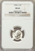 Roosevelt Dimes, 1955-S 10C MS66 NGC. NGC Census: (1820/719). PCGS Population(1686/110). Mintage: 18,510,000. Numismedia Wsl. Price for pro...