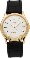 Timepieces:Wristwatch, Patek Philippe Calatrava 18k Yellow Gold Wristwatch Ref. 3923 . ...