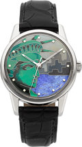 Timepieces:Wristwatch, VSDial Custom Cloisonné Enamel Statue of Liberty Dial On A 1960'sOmega Wristwatch. ...