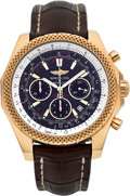 Timepieces:Wristwatch, Breitling for Bentley Chronograph 18k Rose Gold Limited Edition Certified Chronometer Wristwatch #120/500. ...