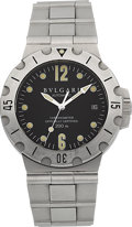 Timepieces:Wristwatch, Bulgari Steel Diagono SD 38 S Automatic Wristwatch. ...