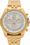 Timepieces:Wristwatch, Breitling For Bentley Chronograph 18k Yellow Gold Heavy Bracelet Watch No 768. ...