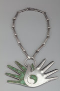Jewelry, A William Spratling Silver and Malachite Hand Necklace, Taxco, Mexico, circa 1955. Marks: (double stamped Spratl...