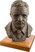 Political:3D & Other Display (1896-present), Theodore Roosevelt: Bronze Bust on Wooden Base....