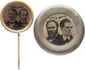 Political:Ferrotypes / Photo Badges (pre-1896), Hayes & Wheeler and Tilden & Hendricks: FerrotypeJugates.... (Total: 2 Items)