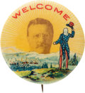 Political:Pinback Buttons (1896-present), Theodore Roosevelt: Popular Welcome Pin....