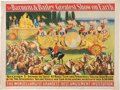 "Advertising:Signs, 1903 Barnum & Bailey Circus Poster Featuring the ""TwoHemispheres"" Bandwagon...."