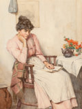 Fine Art - Painting, European:Other , Walter Langley (British, 1852-1922). A thoughtful interlude.Watercolor over pencil on board heightened with white. 20-1...