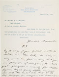 Autographs:U.S. Presidents, Theodore Roosevelt: Heavily Annotated TLS as Civil Service Commissioner....
