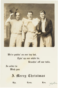 John F. Kennedy: 1934 Choate School Christmas Card with Note