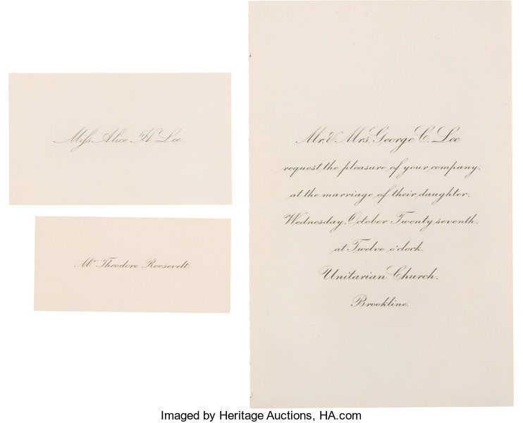 Theodore Roosevelt Invitation And Place Cards For His Lot 42115