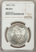 Morgan Dollars, 1882-S $1 MS65+ NGC. NGC Census: (18493/8136). PCGS Population (17914/5673). Mintage: 9,250,000. Numismedia Wsl. Price for ...