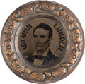 Political:Ferrotypes / Photo Badges (pre-1896), Abraham Lincoln: Big Doughnut Back-to-back Ferrotype....