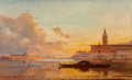 Fine Art - Painting, European:Other , Henri Duvieux (French, 1855-1902). A view of the Doge's Palaceat sunset. Oil on canvas. 16 x 25-1/2 inches (40.6 x 64.8...