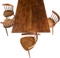Furniture , George Nakashima (American, 1905-1990). Trestle Table, 1958. American black walnut with three rosewood butterflies. 29 x...