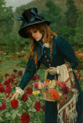 Fine Art - Painting, European:Other , Herbert Gustave Schmalz (British, 1856-1935). The flowergirl, 1900. Oil on panel. 20 x 13-3/4 inches (50.8 x 34.9 cm)....